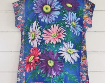 Upcycled Vintage Linen Tea Towel Tunic Dress XS Petite Womens Retro Flower Daisy Blue Pink Shabby Chic Print Floral Mini Mod