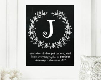 "Instant ""Family Monogram Scripture"" Chalkboard Wall Art Print 8x10 Typography Letter ""J"" Printable Home Decor"