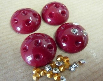 4 glass cabochons, Ø16mm, wine red with rhinestones, round