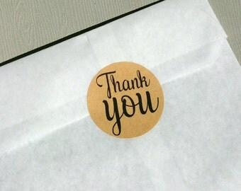 "Circle stickers ""THANK YOU"" x12 (kraft)"