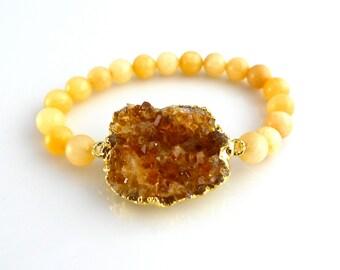citrine druzy with calcite beads stretch gemstone stacking bracelet