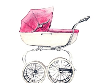 Baby Carriage in Pink - ORIGINAL Watercolor Painting - Nursery Art Decor Baby Girl Vintage English Style Pram Stroller New Mom