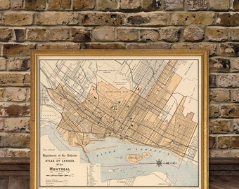 Montreal map -  Vintage map of Montreal - archival reproduction