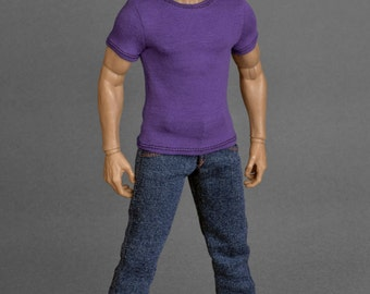 1/6th scale purple T-shirt for: action figures and male fashion dolls