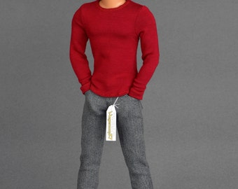 1/6th scale grey jeans pants trousers for: female and slim male figures + Ken and Taeyang size dolls