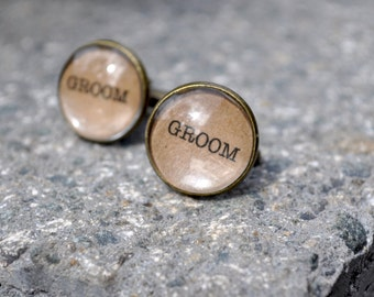 Grooms Cufflinks Vintage Style Font