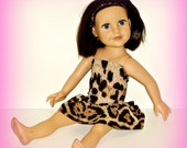 "18"" Journey Girls Doll Dress, Handmade Bubble Skirted in Leopard / Cheetah Print Stretch Knit, Also Fits 21"" Karito Kids Dolls"