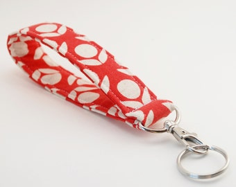 Keychain, Key Fob, Wristlet Snap Lanyard, Linen Fabric, Modern Flowers, Red