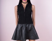 90s Black Zip Up Shirt