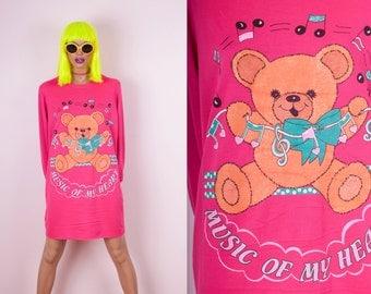 80s Kawaii Teddy Bear Sweatshirt Dress