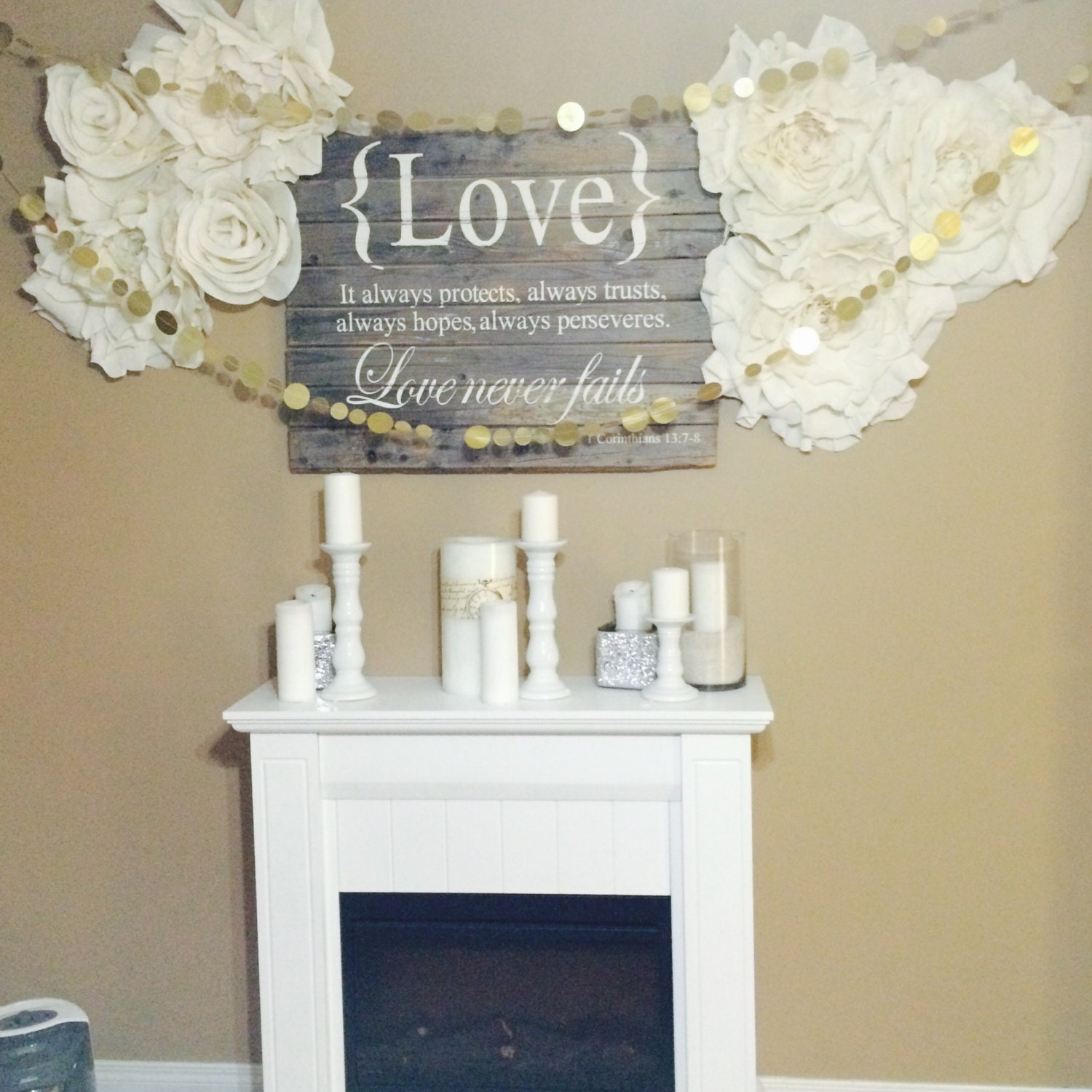 Oversized crepe paper flowers home decor wedding by - Home decoration with paper ...