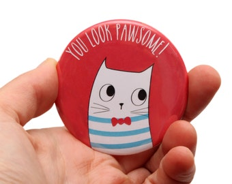 Cat Hand Mirror - Cat Pocket Mirror - Cat illustration - Cute Cat - Cat Gifts - Cats - Cat Make Up Mirror - Compact Mirror