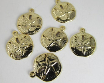 6 Vintage 12mm Dainty Gold-Plated Brass Sand Dollar Charms Pd745