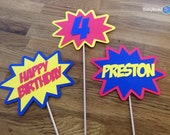 Photo Props: The Personalized Superhero Phrase Set (3 Pieces) - party wedding birthday mask pow bam zap centerpiece custom personalize