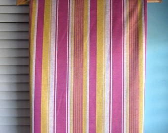 Swinging 70's Polyester Fabric, Polyester Knit Fabric, Striped Polyester, Cerise & Yellow, Mod Striped Fabric, Marcia Brady Fabric