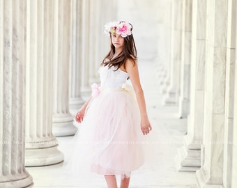 Blush Flower Girl Tutu Tulle Dress with Lace Collar