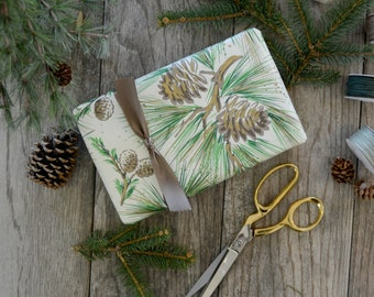 Gold and Green Pine Tree Wrapping Paper, 2 Feet x 10 Feet