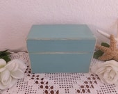 Blue Green Recipe Box Rustic Shabby Chic Distresed Wood Index Card Organizer Beach Cottage Coastal Seaside Kitchen Home Decor Gift for Her