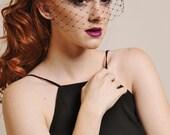 Merry Widow Birdcage Veil in Black