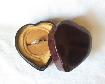 Heart Shape Ring Box tooled Brown Leather Italy Handmade Velvet Jewelry Display Vintage