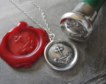 Cross wax seal necklace - Hence Comes Salvation To Me - antique wax seal jewelry