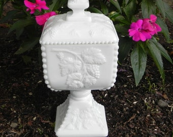 Milk Glass Pedestal Covered Dish