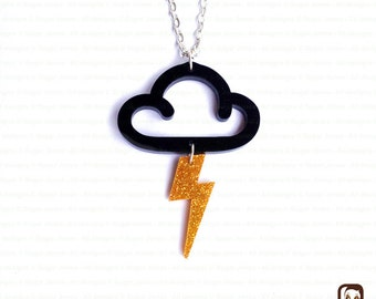 Lightning Bolt Necklace - Cloud necklace - Thunderdtruck - Perspex Necklace - Made in England