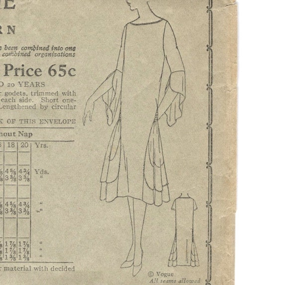 1920s Vogue dress pattern - Vogue 8514, circa 1926