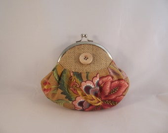 Large coin purse, rustic coin purse,framed coin purse,button,hessian fabric,  purse, coin purse, purse fabric