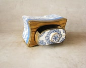 Special box, jewelry box, OOAK Jewelry storage keepsake drawer, wooden box, blue, white golden wax