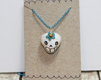 Sugar Skull Necklace, Mini Ornament, Dia De Los Muertos Jewelry, Day of the Dead Necklace, Skull Necklace, Halloween Jewelry, Skeleton Charm
