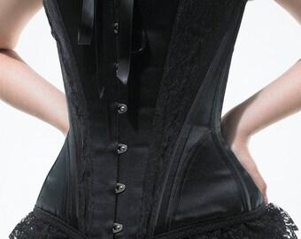 Victoriana Black Over Bust Corset Custom Made
