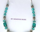 "Handmade 19"" DEEP AQUA Foil Lined Art Glass Beads Silver Caps and Accents Designer Hook Clasp"