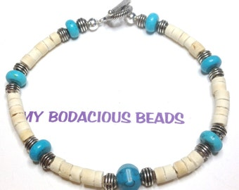 "Handmade  9.25""  NATURAL HESHI and TURQUOISE Mans Bracelet with Pewter Accents and Toggle Closure"