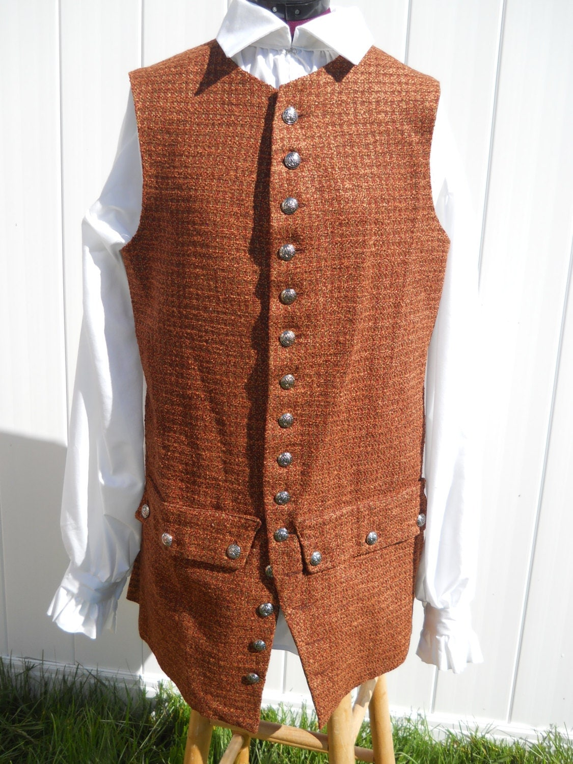 s colonial waistcoat vest brown pirate ready to ship