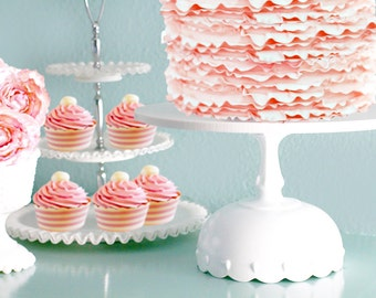 "Scallop Cake Stand / Wedding Cake Stand in 12"" 14"" 16"" 18"" 20"" / White Cake Stand for Vintage White Weddings"