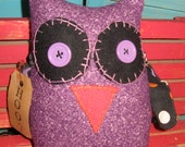 Primitive Purple Owl Doll Shelf Sitter With Polka Dot Wings-Dottie