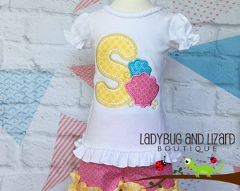 Sea Shell Initial Ruffle Top and Pink Yellow Ruffle Shorts Outfit Sizes 2T-5T, 6