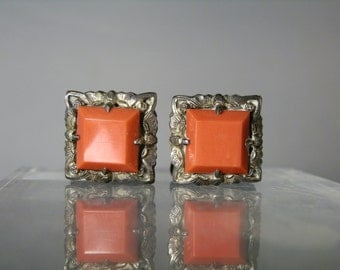 Vintage Cuff Links Suit Accessory Fine 800 Silver Setting Bright Deep Orange Glass Ornate Cufflinks Gift Quality DanPickedMinerals
