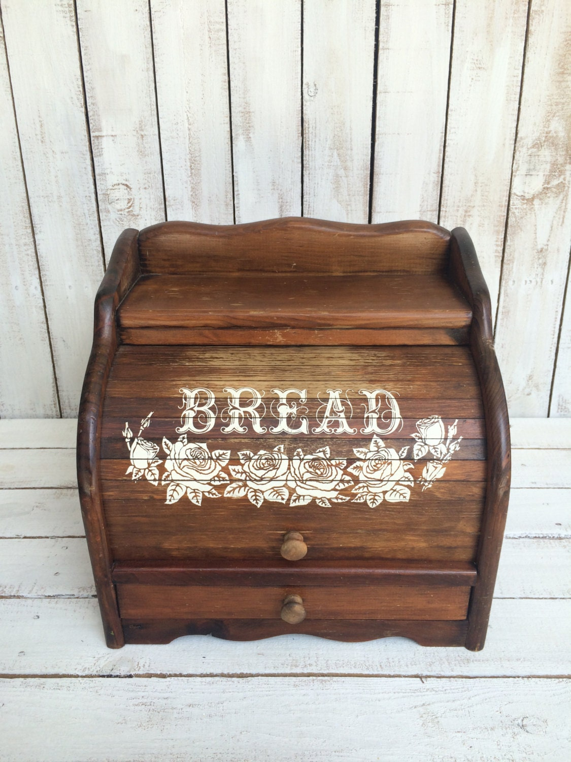 Vintage Roll Top Bread Box With Drawer Large Wooden Breadbox