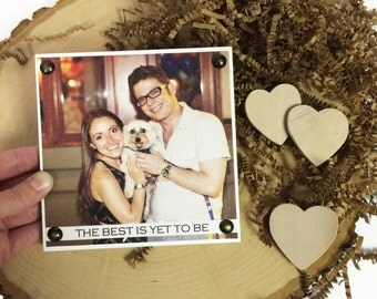 """5x5"""" Customizable Picture Sign - Print on Canvas - Wood Mounted Canvas - Newlywed Gift - Wedding Gift - 2nd Anniversary Gift - Photo Block"""