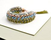 Hippie Statement Bracelet, Ibiza Style Bracelet, Blue and Olive Green Fabric Bracelet, Woven Bracelet, Crochet Bracelet