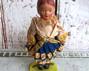 Czech Doll Czechoslovakian souvenir rubber doll in native Czech clothing