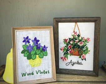 Pink Azalea and Wood Violet Crewel Embroidery Pair | 1970s Framed Crewel Needlework | Vintage Pair of Retro Floral Pictures