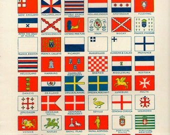 17th 18th Century FLAGS PRINT 1950s 6979 illustrations lithograph paper print ephemeral upcycle recycle ephemera old mid century
