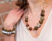 SALE ITEM. Naturally Lovely Necklace. Unique Statement Jewelry. Brown Agate Silver Semi Precious Stones