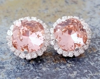 Blush Pink crystal stud earrings, Bridal earrings, Bridesmaids gift, Vintage rose, silver plated stud earrings, Swarovski crystal earrings