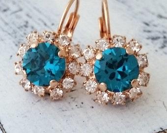 Teal crystal earrings, Teal blue crystal drop earrings, Teal and rose gold crystal drop earrings,Blue bridesmaid earrings, rose gold