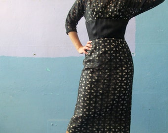 Vtg 50s 60s Cut Out Eyelet Dress / Giant Back Bow / Mad Men Fashions