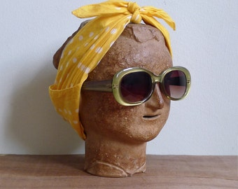 """10% Sale Code """"MAY10"""" - Vintage 60's 'Jackie O' Olive Green Chunky Round Sunglasses"""